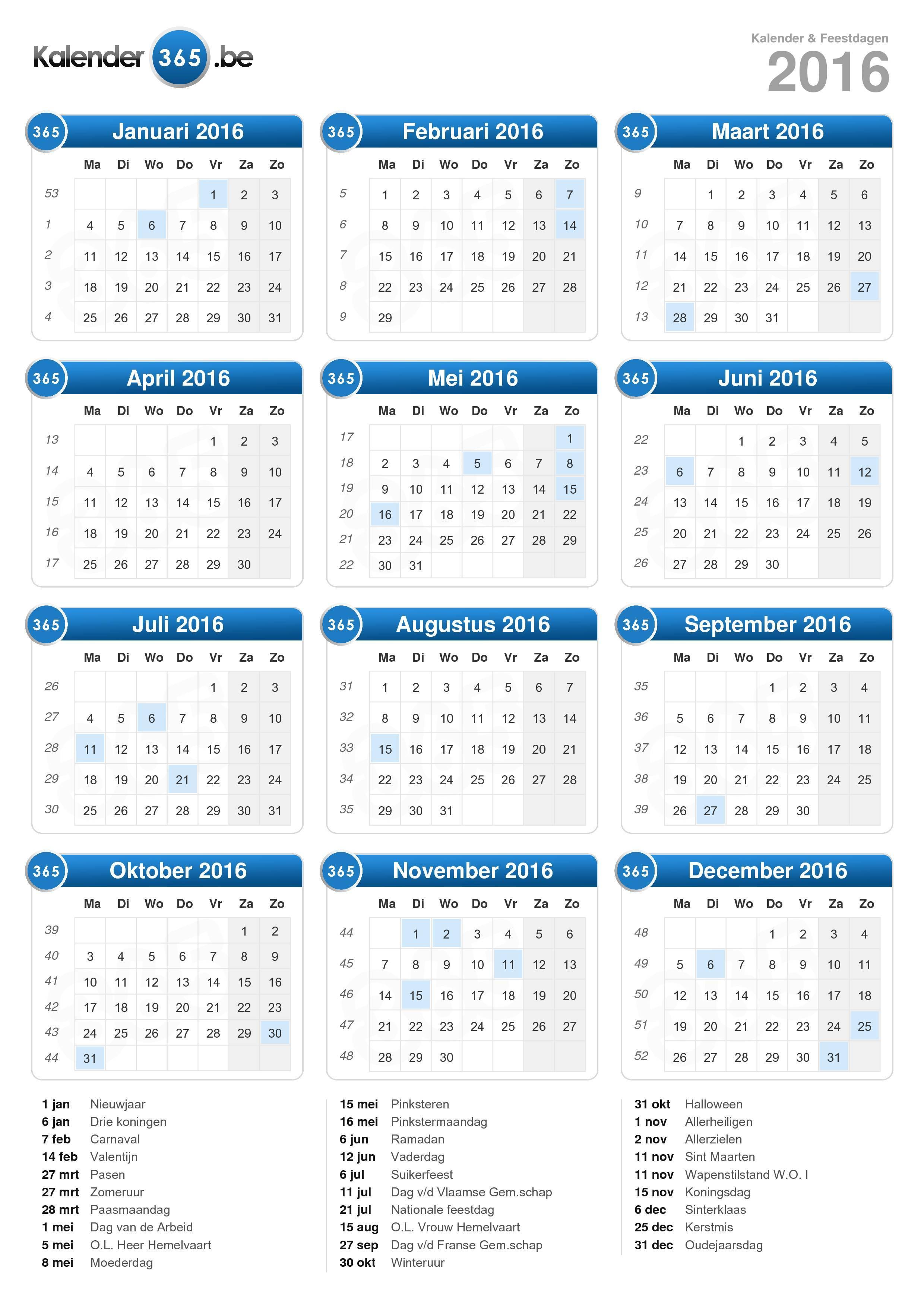 Kalender 2016 Zum Ausdrucken | Calendar Template 2016