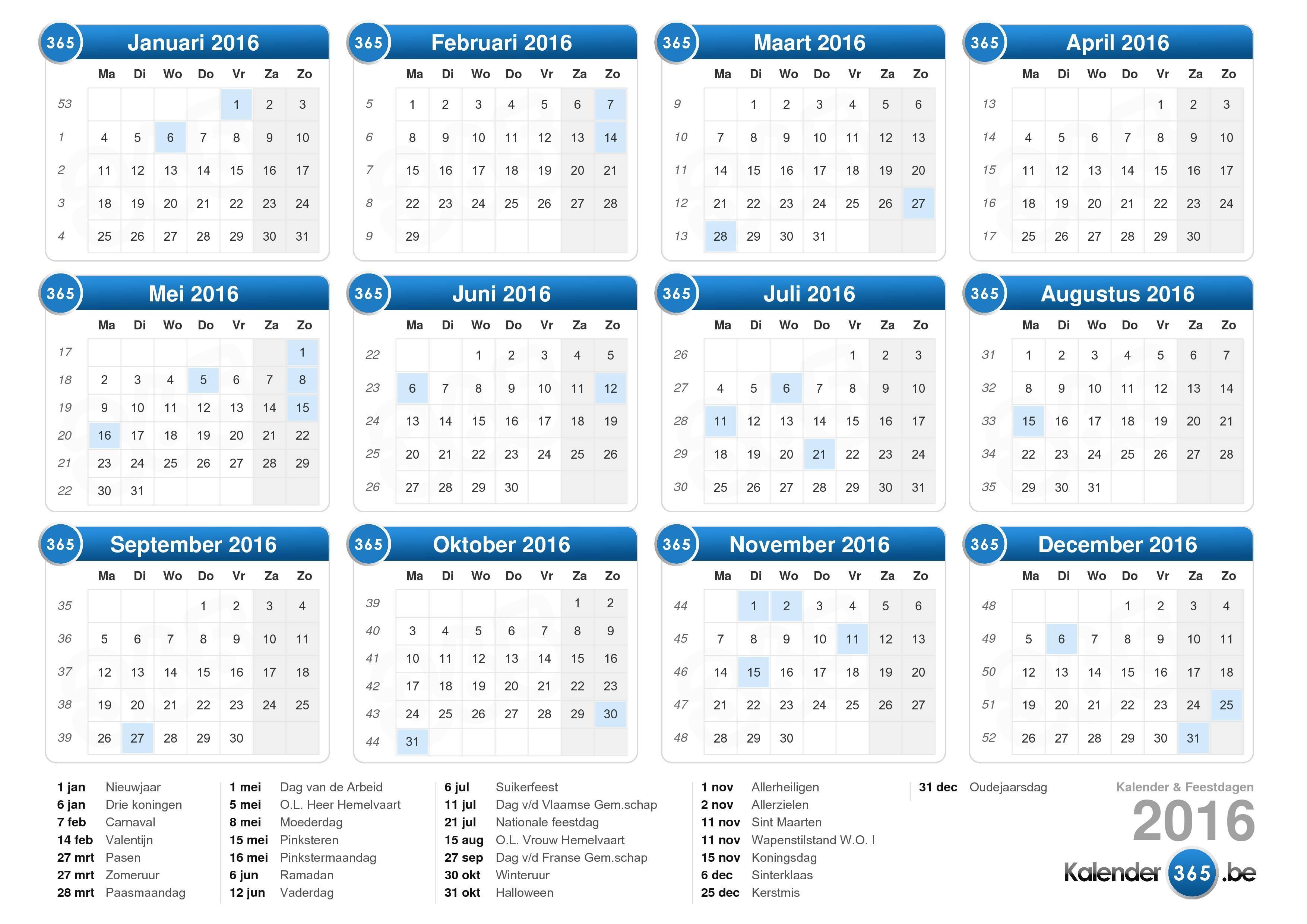 KALENDER 2016 mit Feiertagen & Ferien