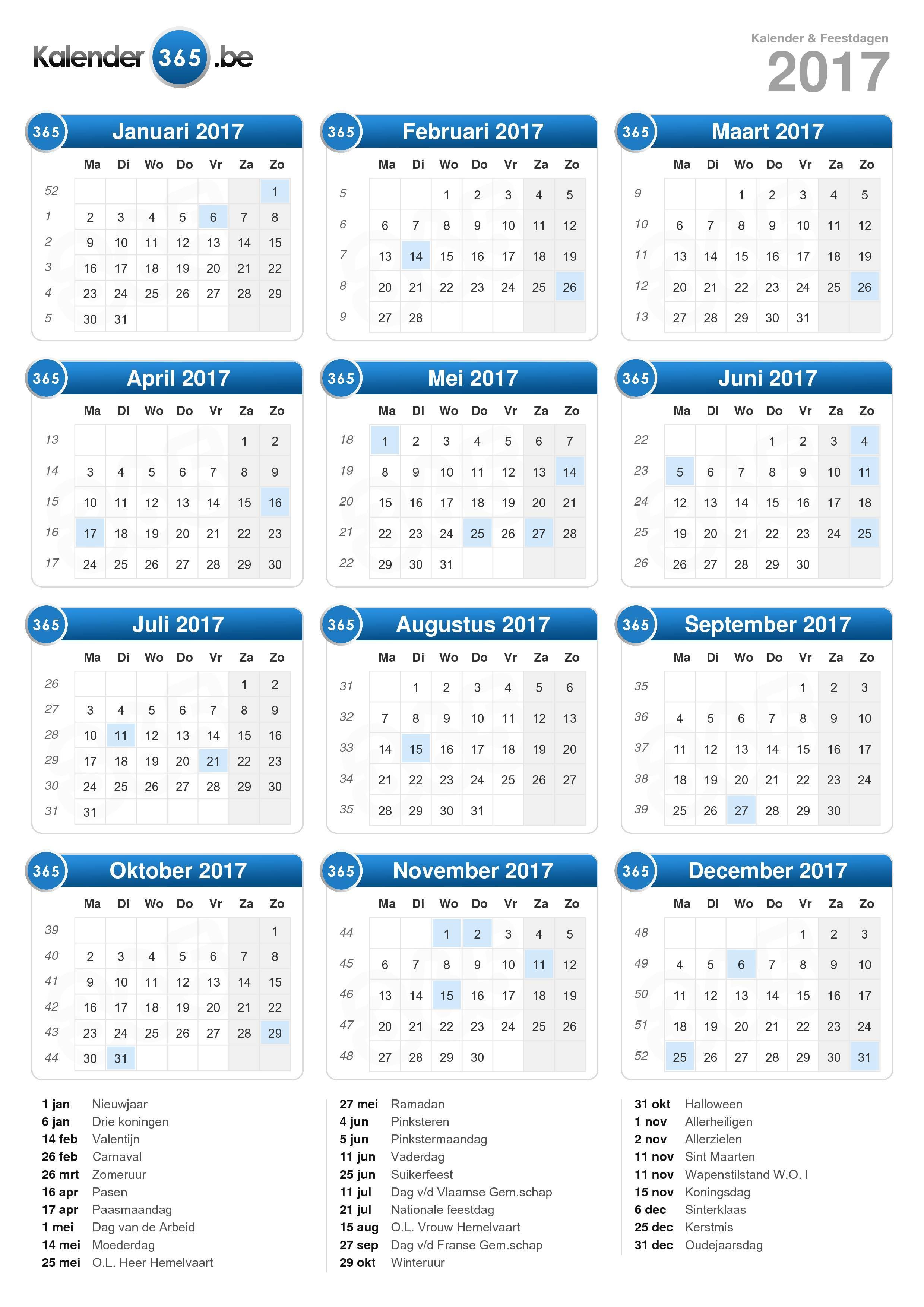 Kalender 2017 (staand formaat)