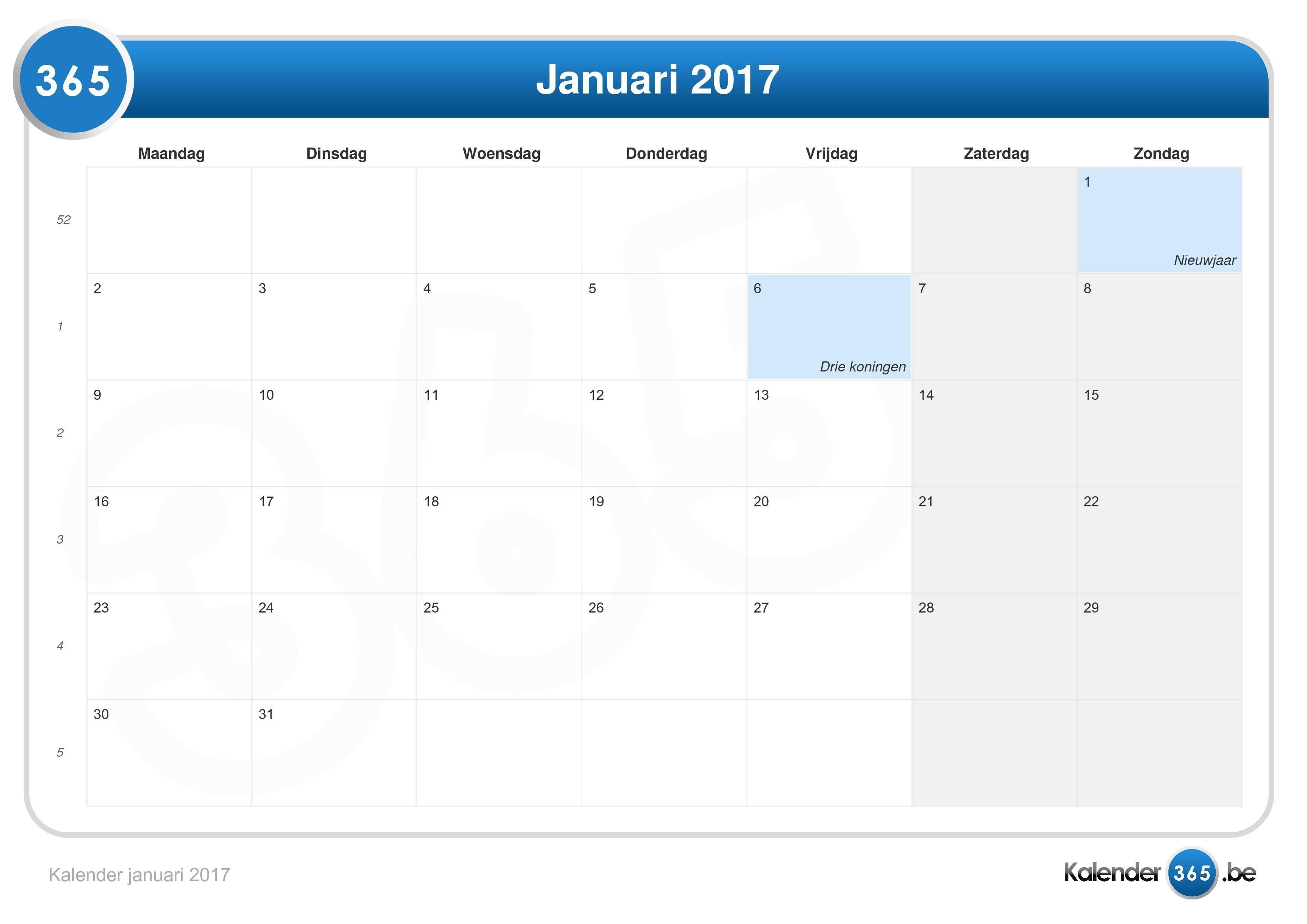 kalender januari 2017 gratis
