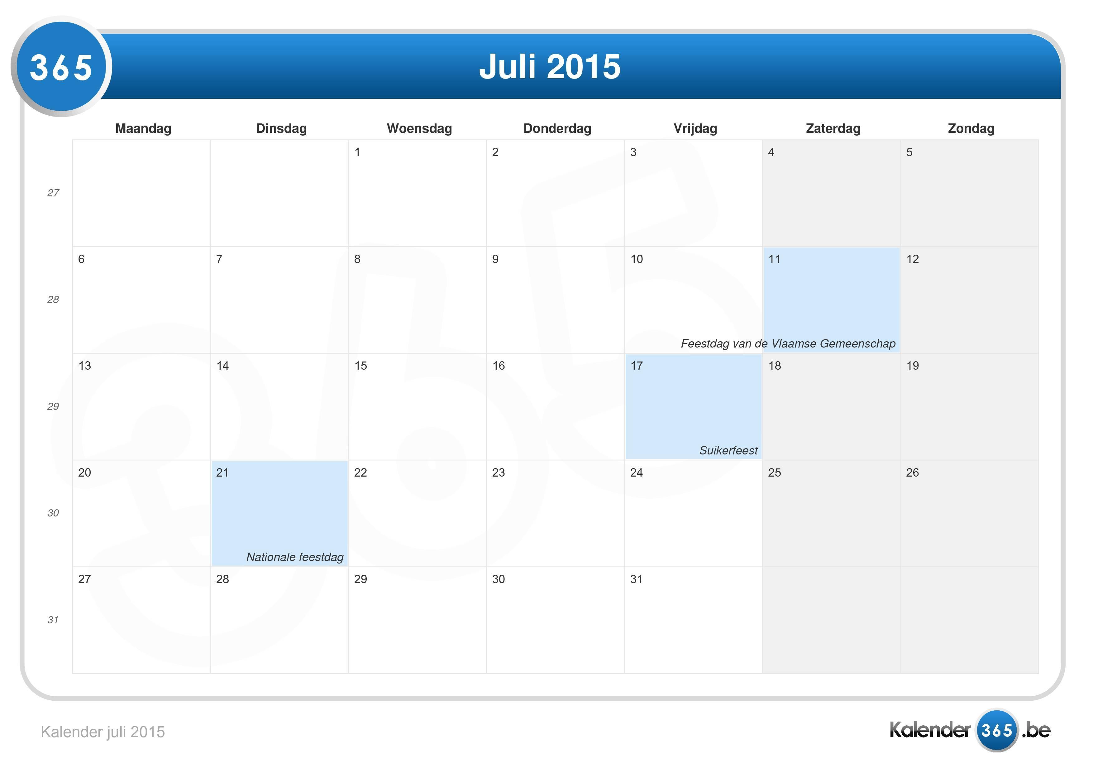 Kalender juli 2015